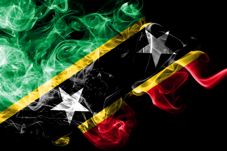 Saint Kitts and Nevis smoke flag Stok Fotoğraf