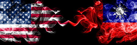 United States of America vs Taiwan, Taiwanese smoky mystic flags placed side by side. Thick colored silky smoke flags of America and Taiwan, Taiwanese. Stockfoto