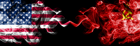 United States of America vs USSR, Communist smoky mystic flags placed side by side. Thick colored silky smoke flags of America and USSR, Communist.