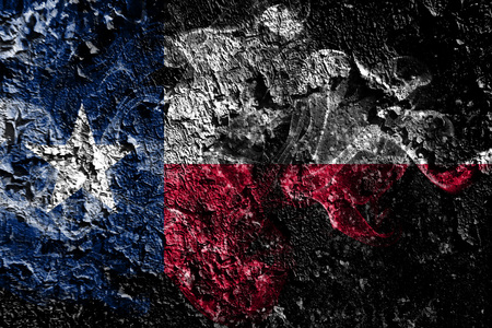 Texas smoky mystical flag on the old dirty wall background