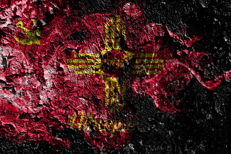 Albuquerque, New Mexico smoky mystical flag on the old dirty wall background