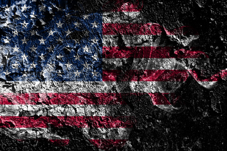 United States smoky mystical flag on the old dirty wall background