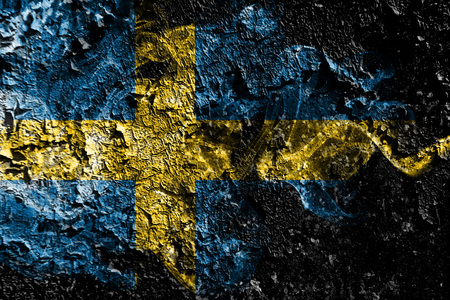 Sweden smoky mystical flag on the old dirty wall background