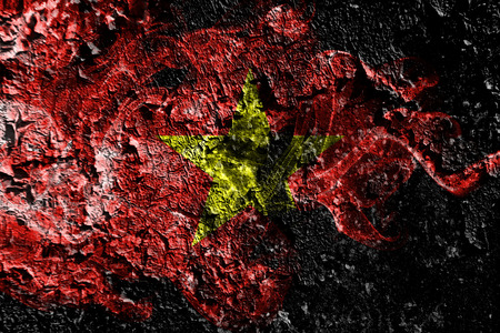 Vietnam smoky mystical flag on the old dirty wall background