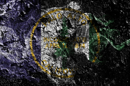 Palo Alto, California smoky mystical flag on the old dirty wall background