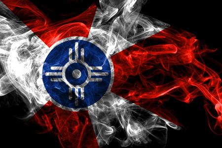 Wichita city smoke flag, Kansas State, United States Of America Stock Photo