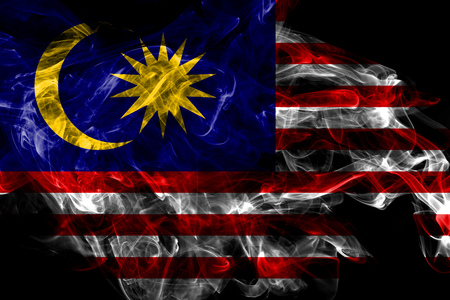 Malaysia smoke flag isolated on black background