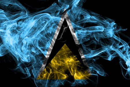 Saint Lucia smoke flag isolated on black background