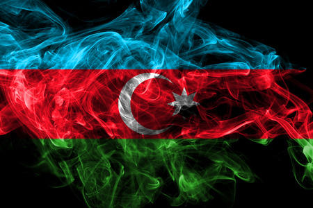 Azerbaijan smoke flag isolated on black background