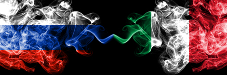 Russian vs Italy, Italian smoke flags placed side by side. Thick colored silky smoke flags of Russia and Italy, Italian