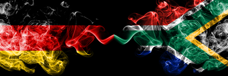 Germany vs South Africa, African smoky mystic flags placed side by side. Thick colored silky smoke flags of Deutschland and South Africa, African.