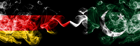 Germany vs Pakistan, Pakistani smoky mystic flags placed side by side. Thick colored silky smoke flags of Deutschland and Pakistan, Pakistani.