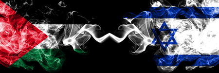 Palestine vs Israel, Israeli smoky mystic flags placed side by side. Thick colored silky smokes flag of Palestinians and Israel, Israeli.
