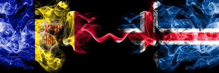 Andorra, Andorran, Iceland, Icelandic competition thick colorful smoky flags. European football qualifications games Stock Photo