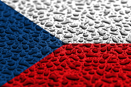 National flag of Czech Republic made of water drops. Background forecast concept.