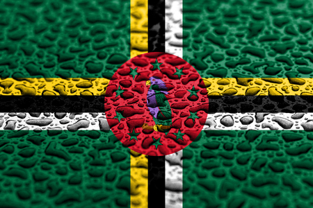 National flag of Dominica made of water drops. Background forecast concept. Banco de Imagens