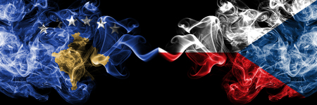 Kosovo, Czech Republic flip competition thick colorful smoky flags. European football qualifications games Stock Photo