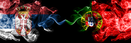 Serbia, Portugal competition thick colorful smoky flags. European football qualifications games