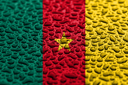 National flag of Cameroon made of water drops. Background forecast concept.