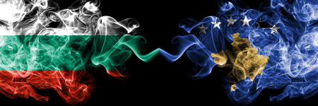 Bulgaria, Kosovo competition thick colorful smoky flags. European football qualifications games