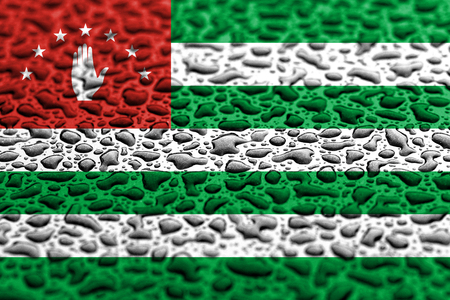 National flag of Abkhazia made of water drops. Background forecast concept.