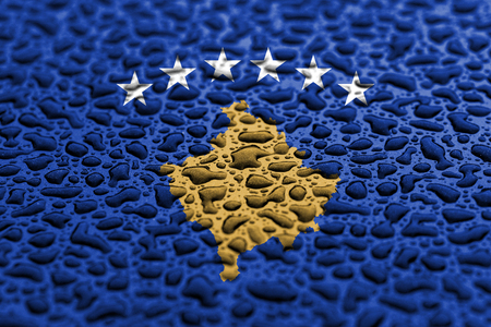 National flag of Kosovo made of water drops. Background forecast concept. Banco de Imagens