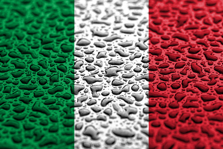 National flag of Italy made of water drops. Background forecast concept. Banco de Imagens
