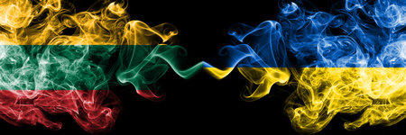 Lithuania, Ukraine competition thick colorful smoky flags. European football qualifications games Stock Photo