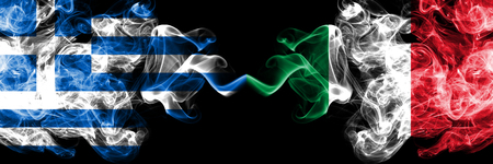 Greece, Greek, Italy, Italian competition thick colorful smoky flags. European football qualifications games