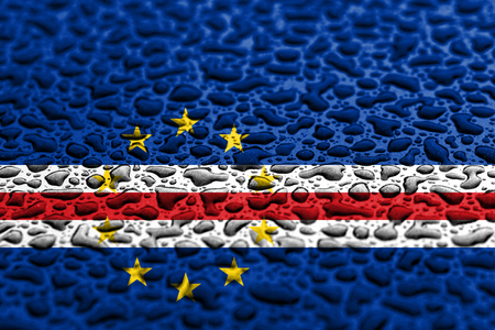 National flag of Cape Verde made of water drops. Background forecast concept.