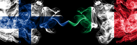 Finland, FInnish, Italy, Italian competition thick colorful smoky flags. European football qualifications games