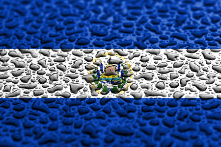 National flag of El Salvador made of water drops. Background forecast concept.