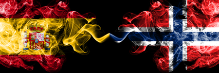 Spain, Spanish, Norway, Norwegian, flip competition thick colorful smoky flags. European football qualifications games