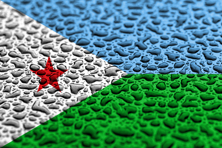 National flag of Djibouti made of water drops. Background forecast concept. Banco de Imagens