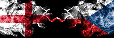 England, Czech Republic, flip competition thick colorful smoky flags. European football qualifications games