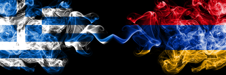 Greece, Greek, Armenia, Armenian competition thick colorful smoky flags. European football qualifications games