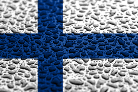 National flag of Finland made of water drops. Background forecast concept.