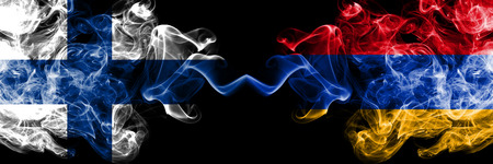 Finland, FInnish, Armenia, Armenian competition thick colorful smoky flags. European football qualifications games