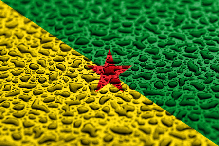 National flag of French Guiana made of water drops. Background forecast concept.
