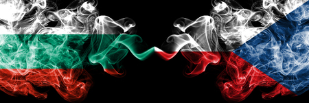 Bulgaria, Czech Republic, flip competition thick colorful smoky flags. European football qualifications games
