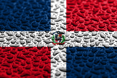 National flag of Dominican Republic made of water drops. Background forecast concept. Imagens
