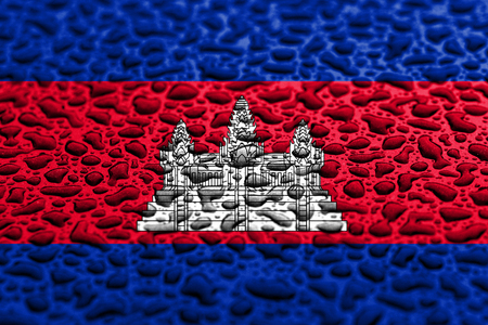 National flag of Cambodia made of water drops. Background forecast concept. Imagens