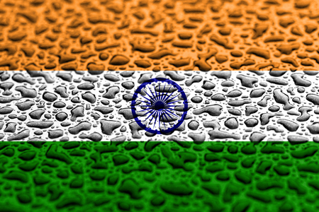 National flag of India made of water drops. Background forecast concept.