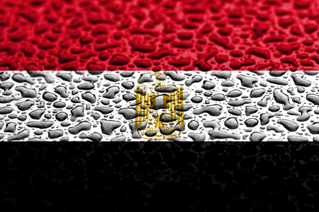 National flag of Egypt made of water drops. Background forecast concept. Banco de Imagens