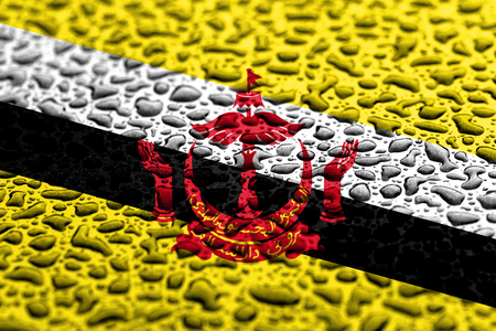 National flag of Brunei made of water drops. Background forecast concept.