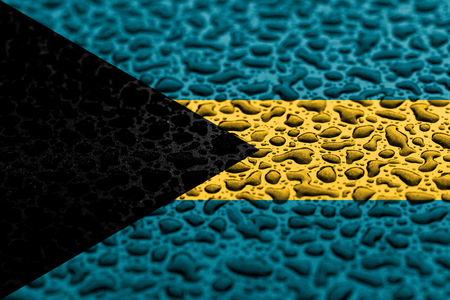 National flag of Bahamas made of water drops. Background forecast concept.