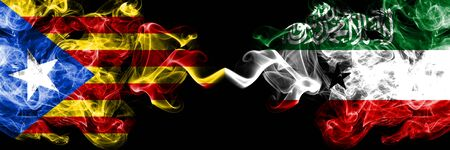 Catalonia vs Somaliland smoke flags placed side by side. Thick colored silky smoke flags of Catalonia and Somaliland