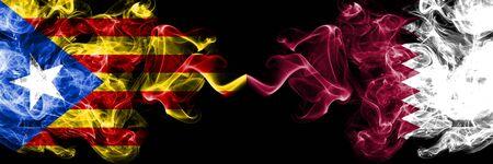 Catalonia vs Qatar, Qatari smoke flags placed side by side. Thick colored silky smoke flags of Catalonia and Qatar, Qatari