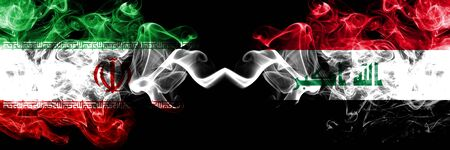 Iran vs Iraq, Iraqi smoky mystic states flags placed side by side. Thick colored silky smokes flag combination of Iranian and Iraq, Iraqi