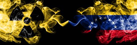 Venezuela, Venezuelan vs nuclear smoky mystic flags placed side by side. Thick colored silky smokes combination of Venezuela, Venezuelan flag and radioactive sign.